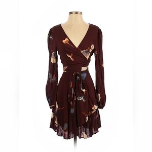 Urban outfitters maroon floral prints wrap dress